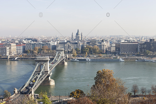 Budapest, Hungary - November 11, 2019: Bird's eye view of Szechenyi Chain Bridge in Budapest