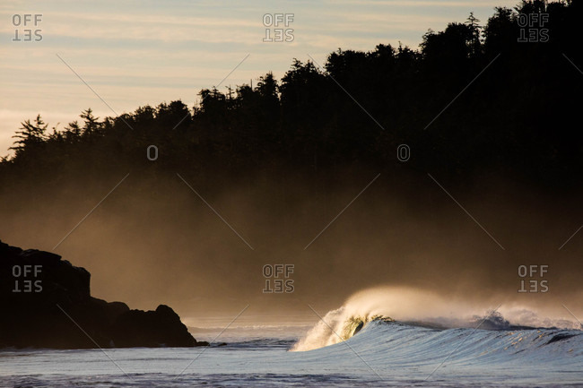 Ocean waves in Rosie Bay, Tofino, Vancouver Island, British Columbia, Canada