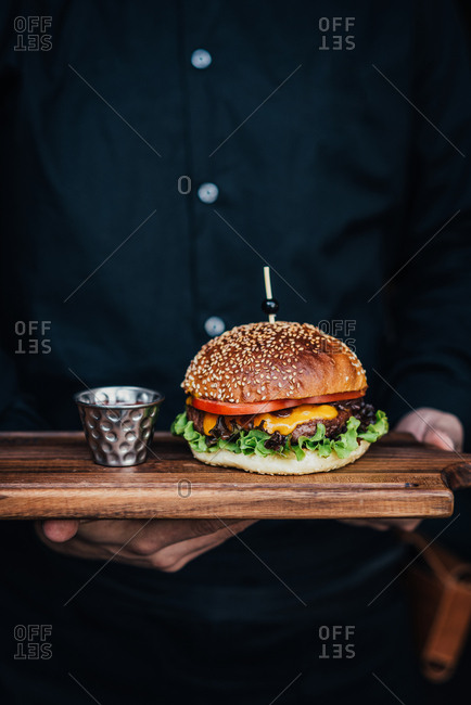 Juicy beef burger with cheddar cheese