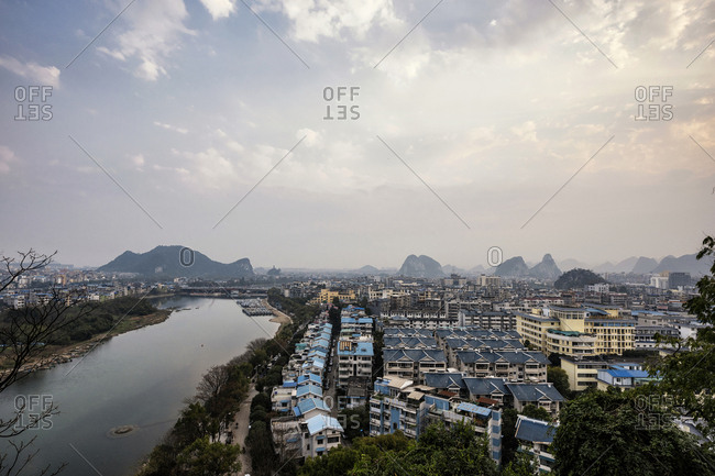 Guilin, China - February 28, 2017: The view of the city of Guilin, Guangxi Province, China