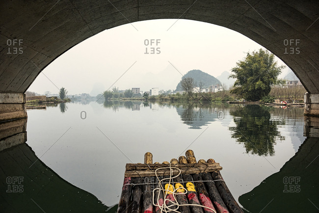 View of the River Li, from a wooden raft in Guilin