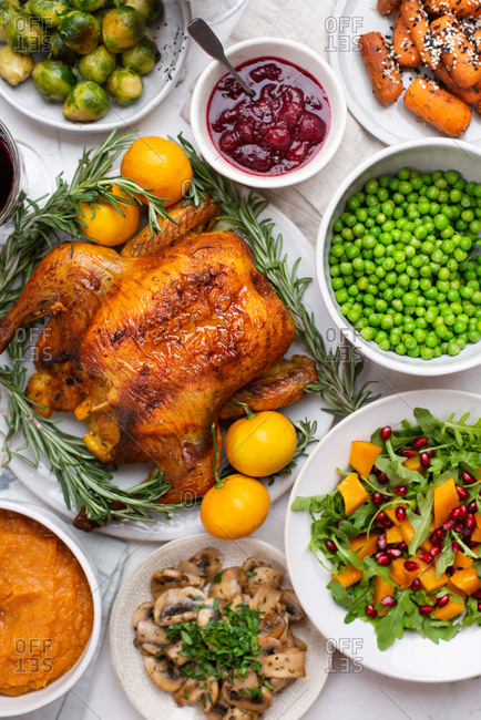 Thanksgiving dinner with roasted chicken and sides
