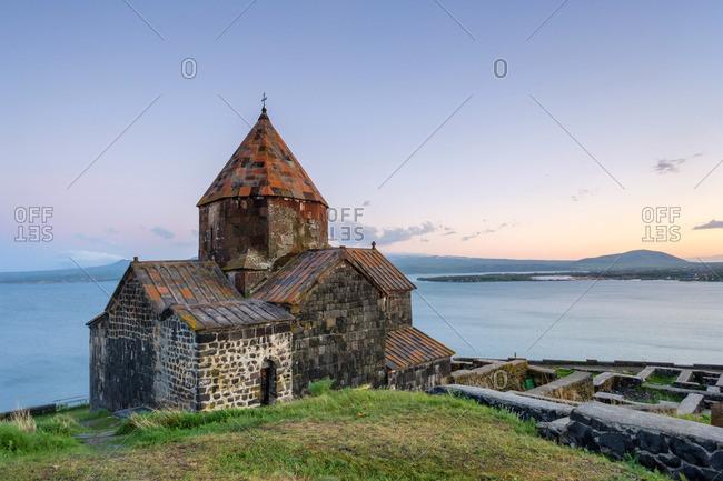 Sevanavank church on Lake Sevan at sunset, Sevan, Gegharkunik Province, Armenia