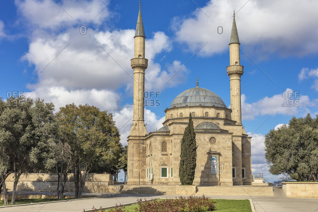Azerbaijan - April 21, 2019: Sahidlar Xiyabani Mosque, Mosque of the Martyrs, Shahids Mosque, Baku, Azerbaijan