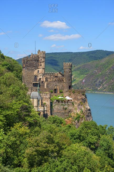 Rheinsteincastle with river Rhein near Bingen, Rhine valley, Rhineland-Palatinate, Germany