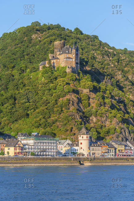 River rhine with St. Goarshausen and Katz castle,  Rhine valley, Rhineland-Palatinate, Germany