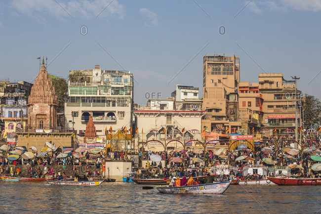 India - February 19, 2019: India, Uttar Pradesh, Varanasi, View towards Dashashwamedh Ghat