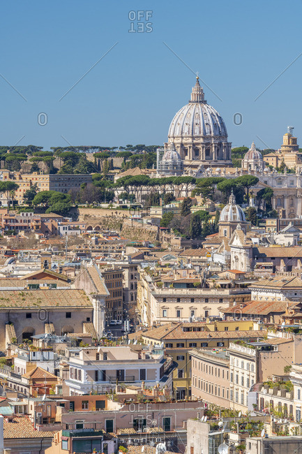 Italy, Lazio, Rome, St Peters Basilica and Rome rooftops