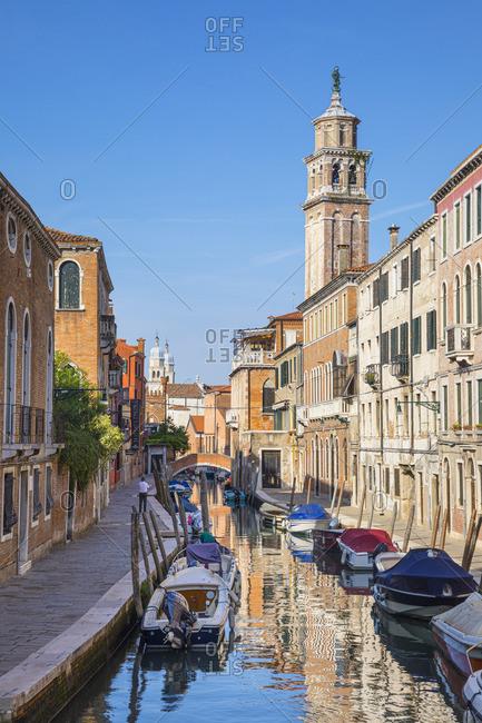 Italy - September 15, 2019: Rio de S Barnaba, Dorsoduro, Venice, Veneto, Italy