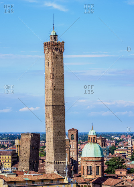 View towards the Asinelli Tower, Bologna, Emilia-Romagna, Italy