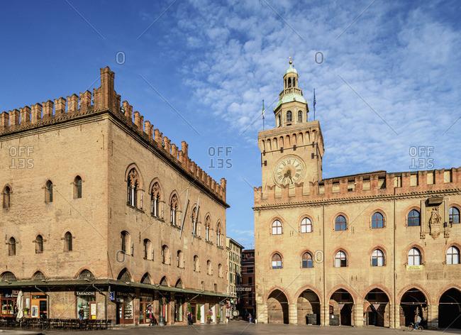 Italy - May 17, 2019: Palazzo dei Notai and Palazzo d'Accursio, Piazza Maggiore, Bologna, Emilia-Romagna, Italy