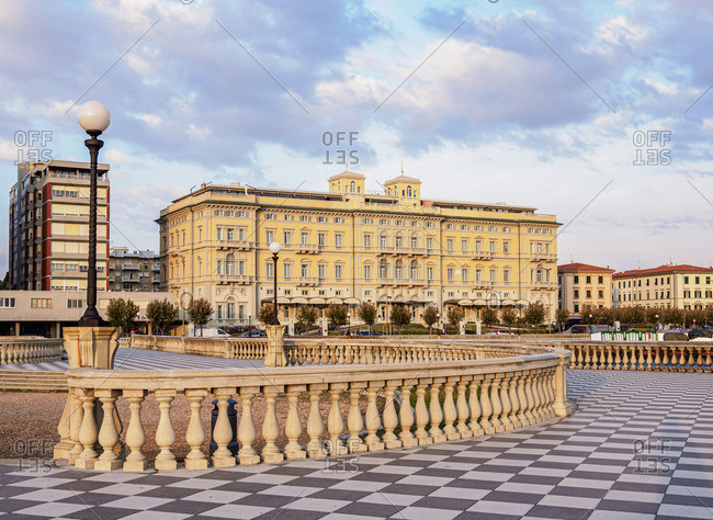 Italy - May 21, 2019: Terrazza Mascagni at sunset, Livorno, Tuscany, Italy