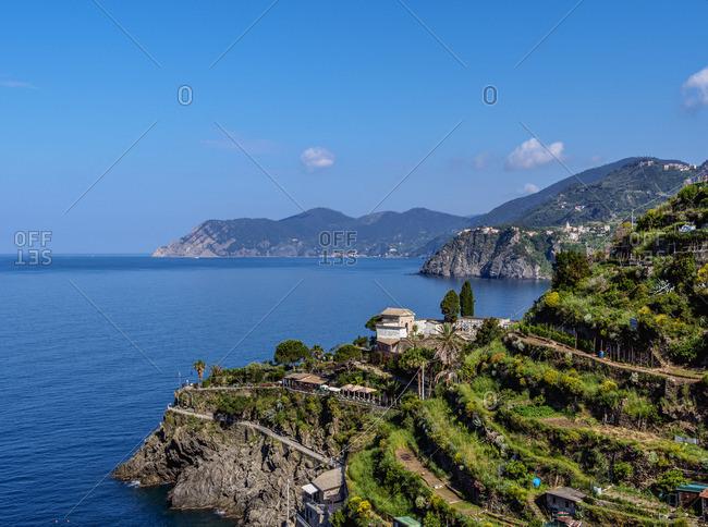 Coast of Cinque Terre seen from Manarola, UNESCO World Heritage Site, Liguria, Italy