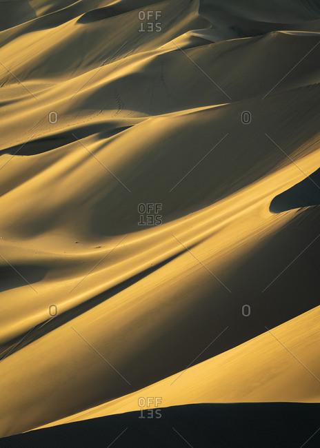 Detail of sand dunes in desert at Huacachina at sunset, Ica Region, Peru