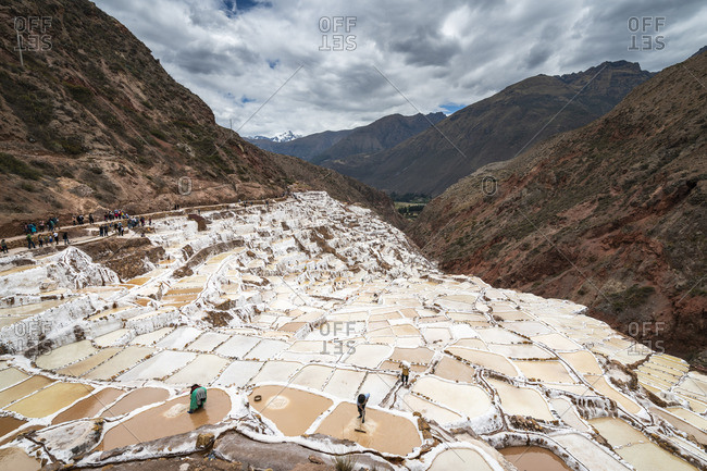 Elevated view of workers at Maras salt marsh terraces, Salinas de Maras, Cuzco Region, Peru