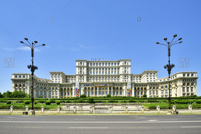 Romania - June 14, 2019: The Palace of the Parliament, in central Bucharest, is the second largest administrative building in the world. The Palace was ordered by Nicolae Ceausescu (1918?1989), the dictator of Communist Romania. Bucharest, Romania