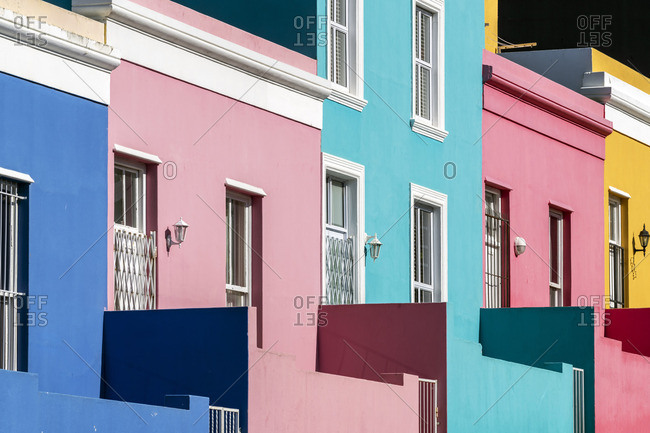 Brightly colored homes in Bo-Kaap district, Cape Town, Western Cape, South Africa
