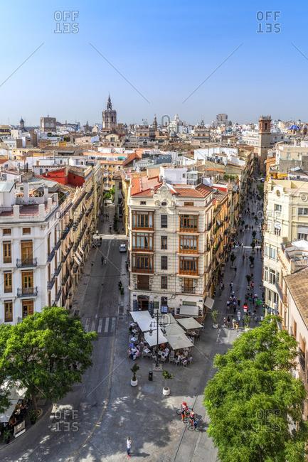 Spain - July 4, 2019: City skyline, Valencia, Comunidad Valenciana, Spain