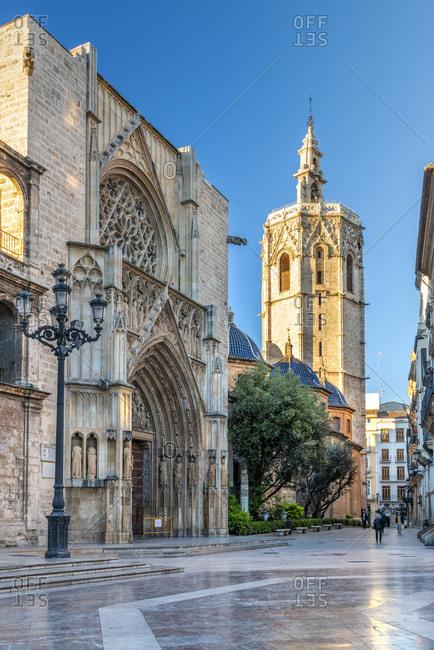 Spain - April 10, 2019: Plaza de la Virgen and Cathedral, Valencia, Comunidad Valenciana, Spain