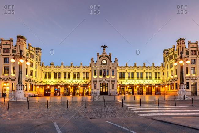 Spain - July 2, 2019: Estacio del Nord railway station, Valencia, Comunidad Valenciana, Spain