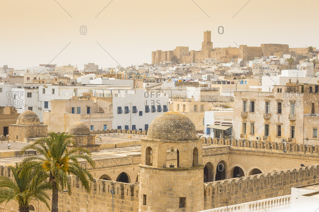 Tunisia, Sousse, View of  Great Mosque across madina towards archaeological museum