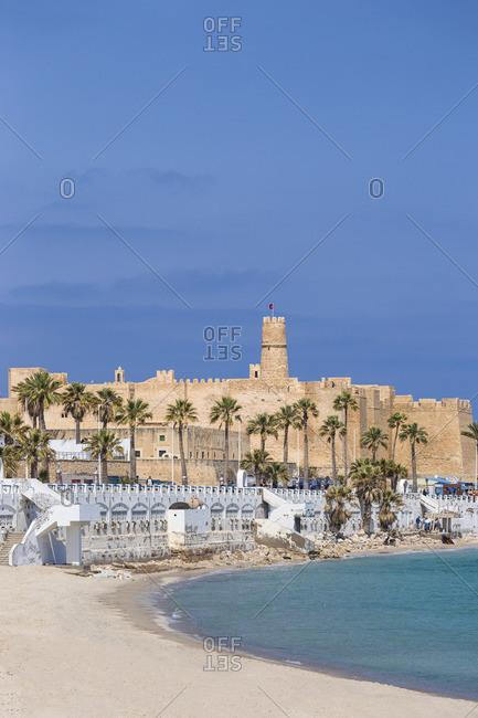 Tunisia - April 18, 2019: Tunisia, Monastir, View of corniche and fort