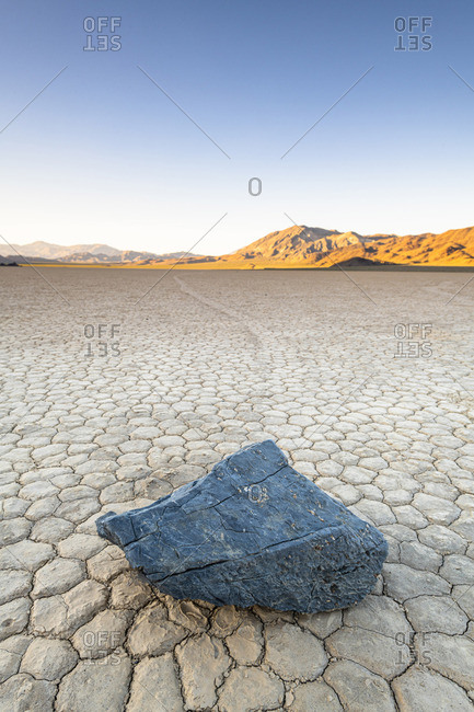 Moving boulders at Racetrack playa, Death Valley National park, California, USA