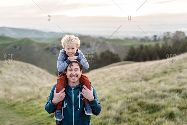 Portrait of father and son at Te Mata Peak, Hawke's Bay, New Zealand