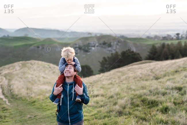 Father and son at Te Mata Peak, Hawke's Bay, New Zealand