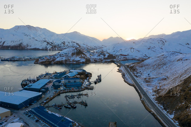 Aerial view of sunrise over the isolated city of Unalaska, AK, USA.