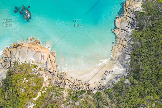 Aerial view of the hidden beach at a national park, Victoria, Australia.