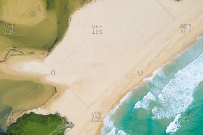 Aerial view over beach at Wallaga lake reserve, Australia.