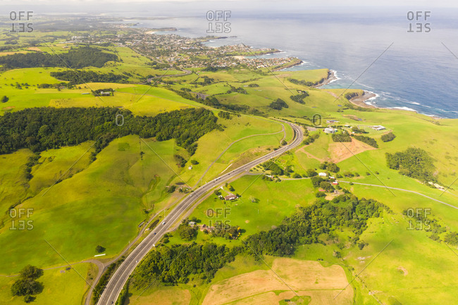 Aerial view of road towards Kiama coastal city, New South Wales, Australia.