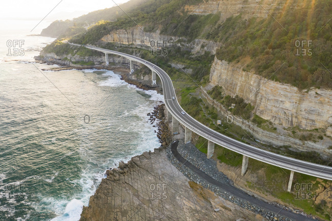 Aerial view of road crossing coastal line at New South Wales, Australia