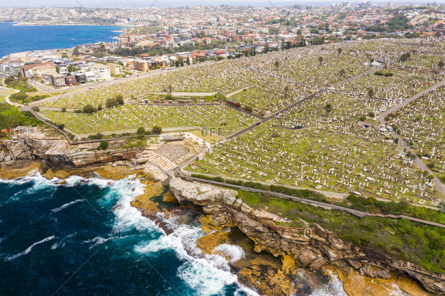 Aerial view of Waverley Cemetery at water edge, Sydney. Australia.
