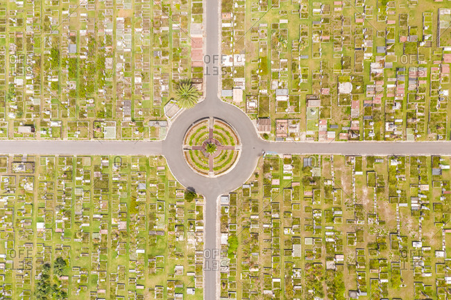 Aerial view above Waverley Cemetery at water edge, Sydney. Australia.