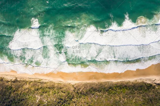 Aerial view of hidden beach at Alexandria Bay, Australia.