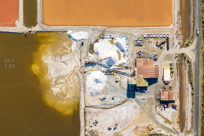 Aerial view above salt production facility, Australia.