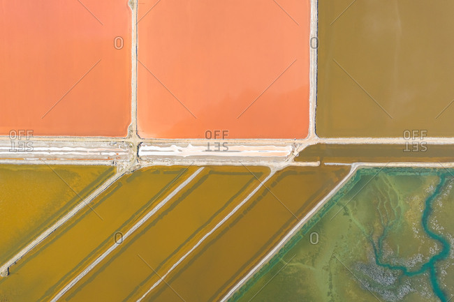 Aerial view above salt production water reservatory, Australia.