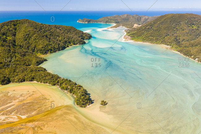 Aerial view of Takapou Bay during the daylight, New Zeland.