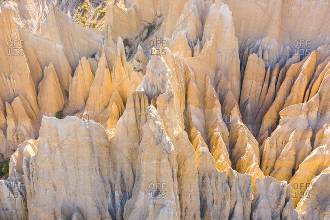 Aerial view of Clay Cliffs, touristic destination at Otago, New Zealand.