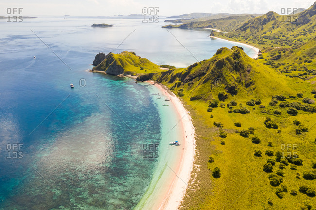 Aerial view of hidden beach at Padar islands during day, Indonesia.