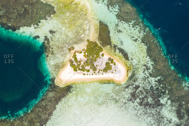 Aerial view of isolated island formation at Savu Sea, Indonesia.