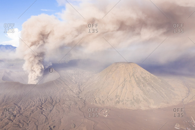 Aerial view of phreatic eruptions at Gn. Batok vulcan, Indonesia.