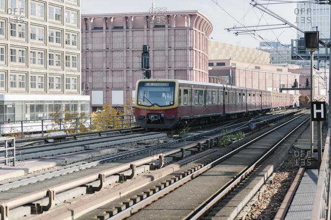 - October 15, 2019: Suburban train near Alexanderplatz- Berlin- Germany