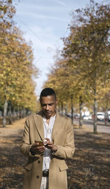 Portrait of businessman using smartphone in autumn