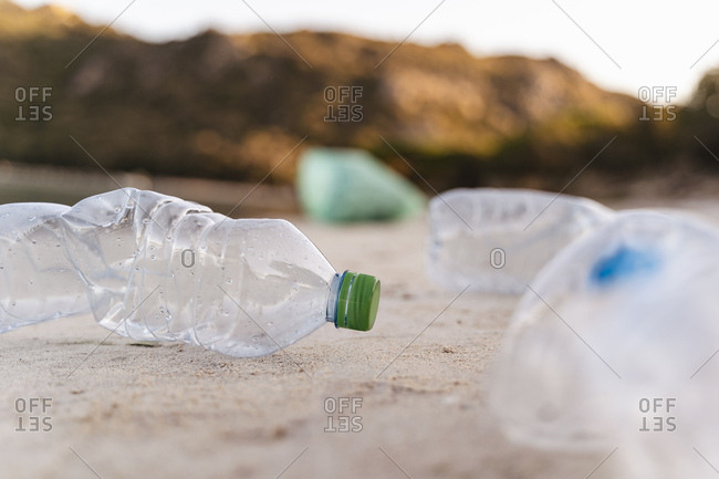 Empty plastic bottles on the beach