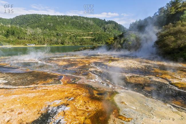 Emerald Terrace- Lake Ohakuri- Orakei Korako Geothermal Park- Taupo Volcanic Zone- North Island- New Zealand