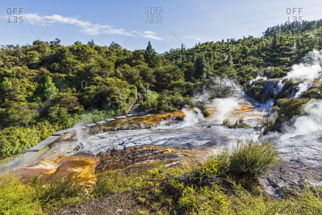 Cascade Terrace- Hot Springs Algae and Terracettes and Emerald Terrace- Orakei Korako Geothermal Park- Taupo Volcanic Zone- North Island- New Zealand