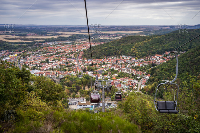 Townscape and chairlift- Thale- Saxony-Anhalt- Germany